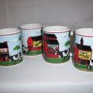 4 Coffee Cups Farmer Red Barn Dairy Milk Cows Mugs