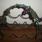 GREEN WROUGH IRON WINE RACK 5 BOTTLE HOLDER  GRAPE VINE DESIGN USED