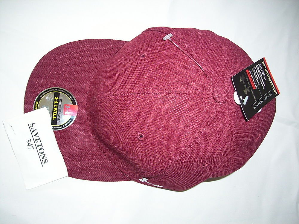 under armour hat cap I will visor hat heatgear burgundy red