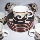 14 pc Sasaki Pompeii Cups and Saucers Loretta Agro Japan brown beige waves dots