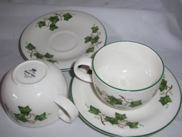ROYAL VALE GREEN IVY   CUP AND SAUCERS  MADE IN ENGLAND