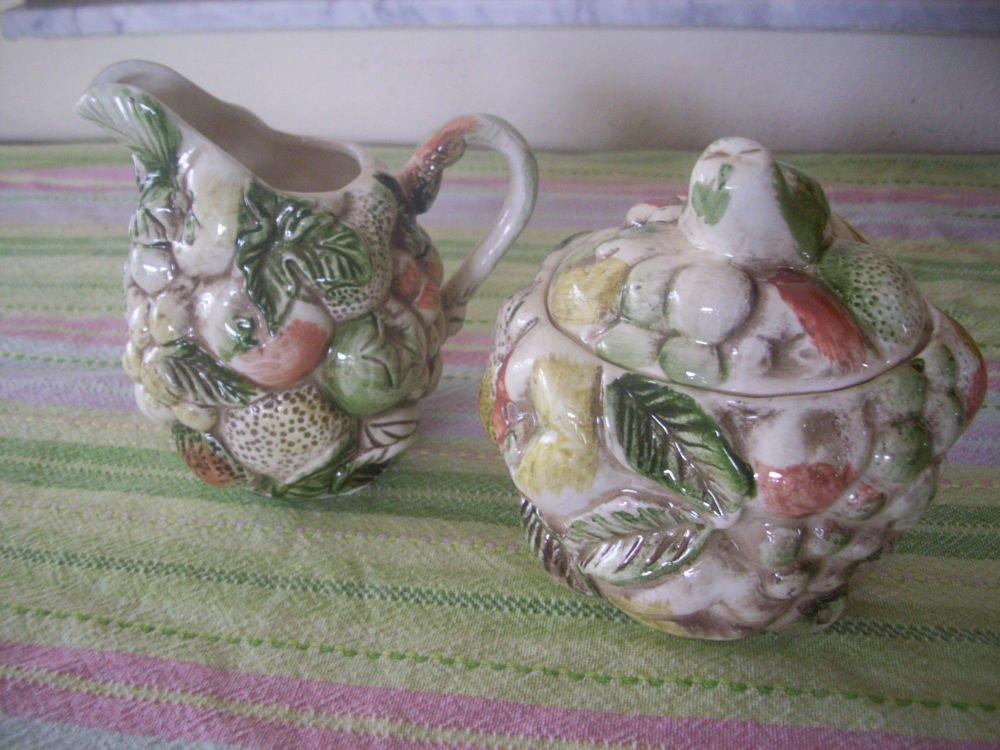 Lefton Ceramic Raised Fruits  Creamer & Covered Sugar bowl with lid nice & Rare