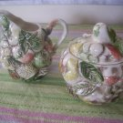 Lefton Ceramic Raised Fruits  Creamer & Covered Sugar bowl with lid nice & Rare
