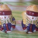 Target Home Christmas Snowman with scarf & broom Salt & Pepper Shakers ceramic