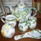 Daisy Patch Tabletops Unlimited  tea coffee pot creamer sugar salt pepper rest