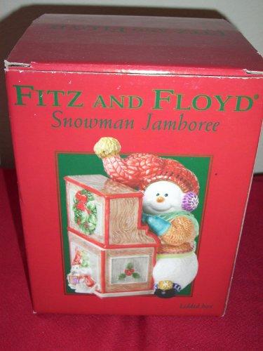 Fitz and Floyd Snowman Jamboree Snowman Playing Piano   Box / Jar