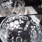 Elegant Stem Small Wine Glass Etched Cut Flowers Leaves Roses