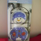 ceramic snowman plates with Wrough Iron hanger Never Used