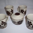 Design Four Stoneware 752 Shadow Coffee Mugs cups Sugar Bowl Japan cream & Brown