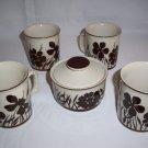 Design Four Stoneware 752 Shadow Coffee Mugs cups Sugar Bowl Japan cream & Brown
