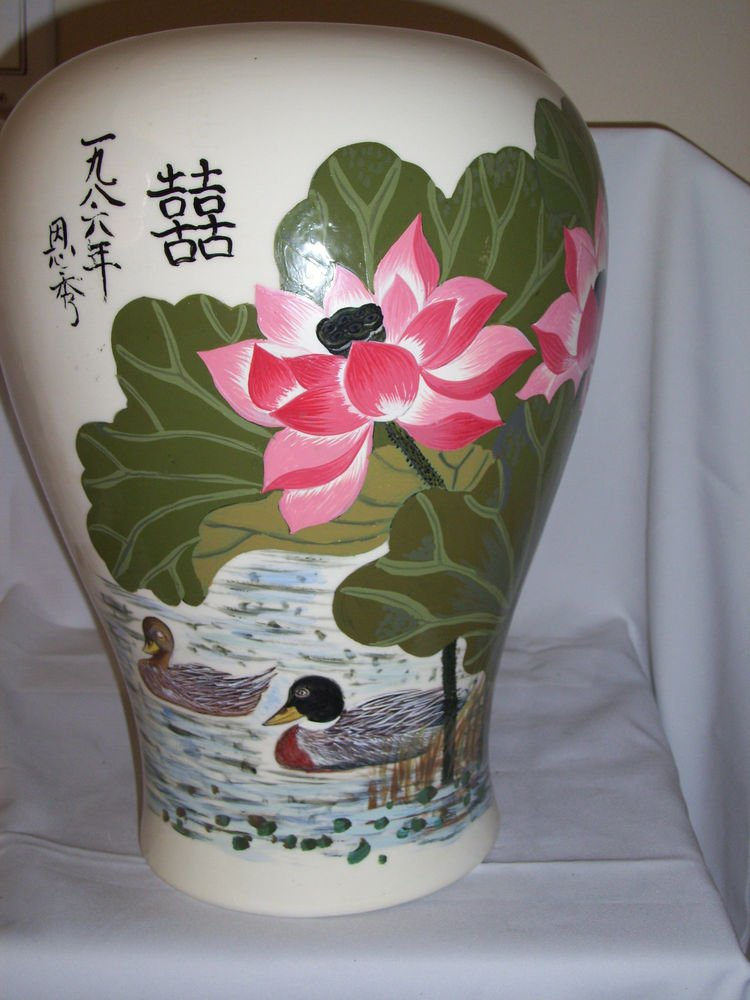 """Hand Painted Oriental Glass Vase Water Lily Ducks on Pond 14"""" x 10.5"""