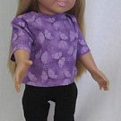 Purple butterfly top with black capris for american girl