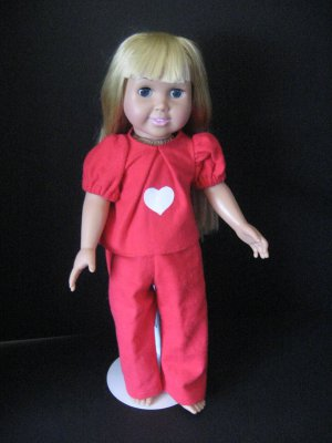Red flannel pajamas for American Girl