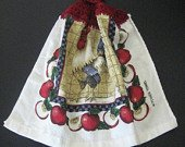 Red rooster and apples kitchen towel
