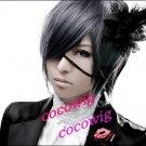 Black Butler Kuroshitsuji Ciel Phantomhive Cosplay Black Gray Cosplay wig