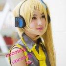 Vocaloid Akita Neru Cosplay Blonde wig 1*Ponytails 120CM