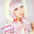 80cm  Long Curly Blue Pink Cosplay Wig