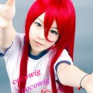 Heat Resistant Long Dark Red Cosplay Party Straight Wig 100cm
