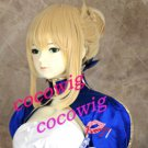 FateStay Night Zero Saber Cosplay Wig Gold Blonde Costume Hair