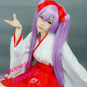 Vocaloid Hatsune Miku Purple Ponytail Cosplay Wig +2 X Ponytails 120cm
