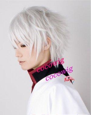 Sakata Gintoki GIN TAMA Anime Cosplay Short Wig Party Hair silver white