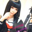 Hell girl Enma Ai Black Long Straight Cosplay Hair Wig 80cm