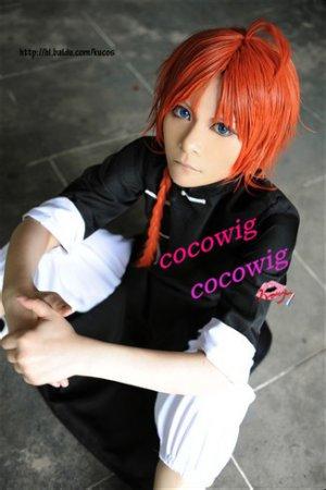 Gintama Silver Soul Kagura Kamui Coral Long  Orange Pigtail Cosplay Party Wig