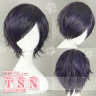 Gintama Takasugi Shinsuke Black Purple Short Cosplay Wig