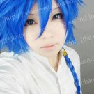 Hot sell!! Vacaloid Kaito  Short Sapphire Blue Layered With A Braid Cosplay Costume Wig