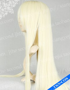 Chobits Chii Blonde Straight Light Gold Party Cosplay Wig 80cm