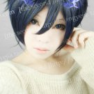 Ao no Exorcist Okumura Rin Black Blue Short Cosplay Party Hair Full Wig
