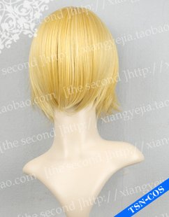 High Quality Vocaloid Kagamine Magnet Rin Len mixed golden Cosplay Short Wig Party Hair Wig