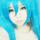 Vocaloid Hatsune Miku Long Straight Dark Blue Cosplay Wig + 2 Ponytails 120cm
