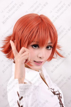Final Fantasy Type-0 Cater Cosplay Costume Short Wig Dark Orange