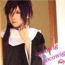 Hakuouki Portable Saito Hajime Pruple/Violet Black Cosplay Costume Wig