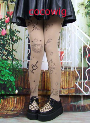 Woman  Fashion Sexy Tattoo constellation print Pantyhose & Tights Leggings  Stocking
