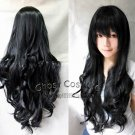 Heat Resistant long black fashion women curly wave cosplay wig
