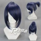 New Future City NO.6 Nezumi Blue Black mix Dark Grey Ponytail Cosplay Wig