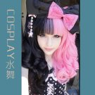 Lolita Long Curly Black & Pink Cosplay Wig+2 Curly Clip On Ponytails