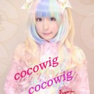 Fashion Hot Sell Lolita Long Curly Gradient Color Cosplay Wig
