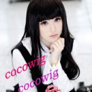 Fashion Hell girl Enma Ai Long black Straight Women Lady's Cosplay Hair Full Wig 100cm