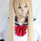 Vocaloid Akita Neru long Cosplay Blonde wig clip on Ponytails 120CM