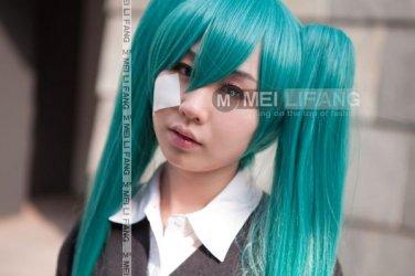 Vocaloid Hatsune Miku Cosplay Wig Dark Green 2 Ponytails 120cm