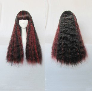 Japanese Harajuku Zipper black&red curly Lolita Kawaii Cosplay Party Wig