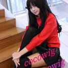 Fate/Stay night Tohsaka Rin black long curly cosplay wig 2 clip ponytails