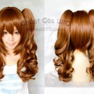 Heat Resistant brown two 60cm curly clip ponytails cosplay wig
