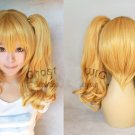 Heat Resistant light blonde two 60cm curly clip ponytails cosplay wig