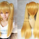 Heat Resistant light blonde two 60cm straight clip ponytails cosplay wig