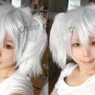 Silver Soul Sakata Gintoki female silver white 2 clips cosplay wig