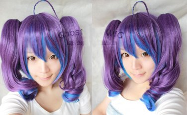 Vocaloid ANTI-THE�HOLiC purple blue mix cosplay wig 2*curly clips